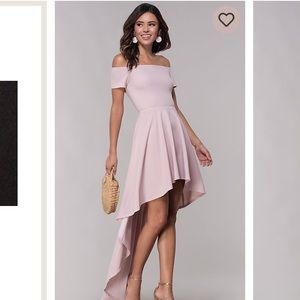 Mauve off the shoulder dress